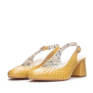 Pantofi casual cu toc dama, perforati si decupati la spate din piele naturala, Leofex - 247 Galben Box