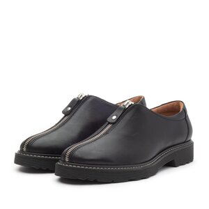 Pantofi casual dama cu fermoar din piele naturala,Leofex - 285-1 Negru box