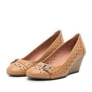 Pantofi casual dama cu platforma si perforati din piele naturala,Leofex - 275 camel
