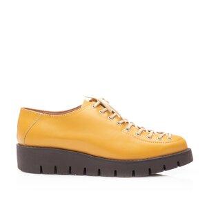 Pantofi casual dama cu siret pana in varf Leofex- 194 Mustar Box