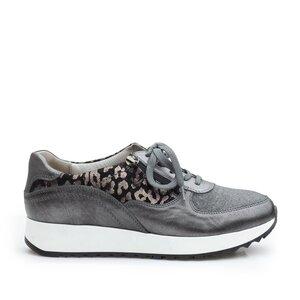 Pantofi casual dama din piele naturala,Leofex -102 Gri Box