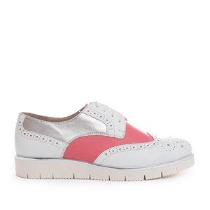 Pantofi casual dama din piele naturala, Leofex - 173 Alb Roz Argintiu box