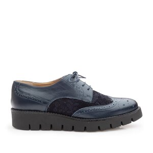 Pantofi casual dama din piele naturala, Leofex - 180 Blue box velur
