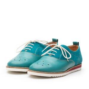 Pantofi casual dama din piele naturala, Leofex - 230 Turcoaz Box Velur