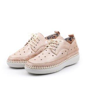 Pantofi casual dama din piele naturala, Leofex - 242 Nude metalizat