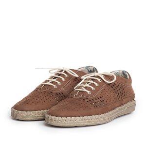 Pantofi casual dama din piele naturala, Leofex - 243 Maro nabuc