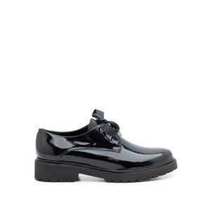 Pantofi casual dama din piele naturala, Leofex - 286 Negru lac
