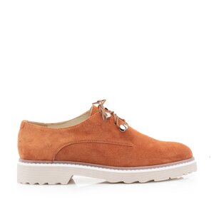 Pantofi casual dama din piele naturala,Leofex - 346 Caramiziu velur