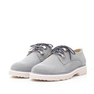 Pantofi casual dama din piele naturala,Leofex - 346 Gri deschis velur