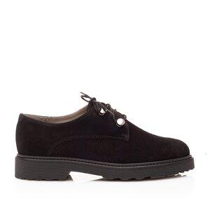 Pantofi casual dama din piele naturala,Leofex - 346 Negru velur