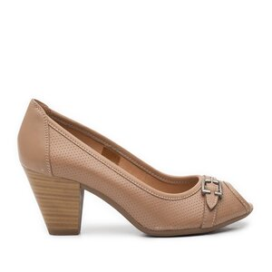 Pantofi casual cu toc dama de piele naturala, Leofex - 276-1 taupe