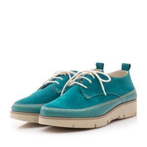 Pantofi casual din piele naturala, Leofex- 198 Turcoaz Velur