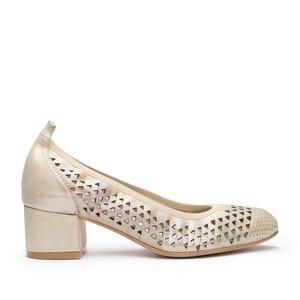 Pantofi casual perforati cu toc dama din piele naturala, Leofex - 248 Taupe Metalizat