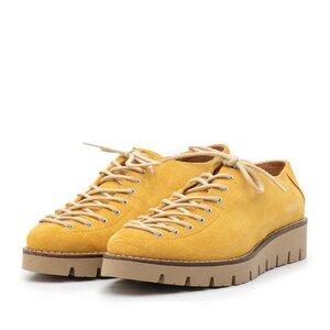Pantofi casual dama cu siret pana in varf din piele naturala, Leofex - 194 B7 Mustar
