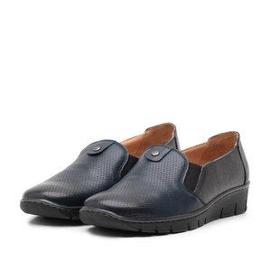 Pantofi casual dama din piele naturala, Leofex - 106 Blue bronz Box