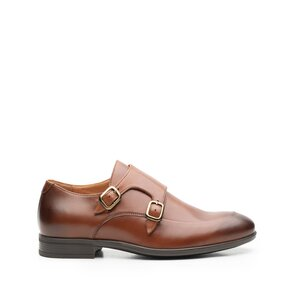 Pantofi eleganti barbati, cu catarame din piele naturala, Leofex - 576-1 Cognac Box