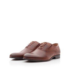 Pantofi eleganti barbati din piele naturala, Leofex -  582 Cognac Box