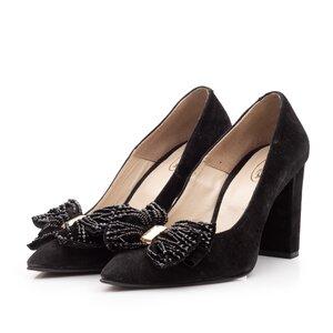 Pantofi eleganti dama din piele intoarsa - 1947 Negru velur