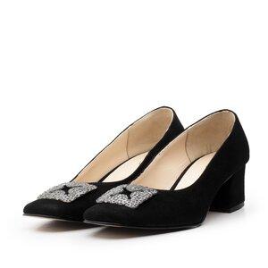 Pantofi eleganti dama din piele naturala - 1907-2 Negru velur