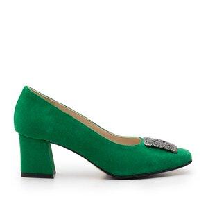 Pantofi eleganti dama din piele naturala - 1907-2 verde velur