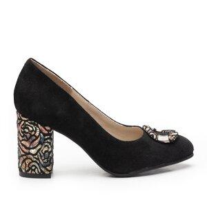 Pantofi eleganti dama din piele naturala  - 1917 Negru Velur
