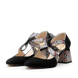 Pantofi eleganti dama din piele naturala - 21100 Negru box+velur
