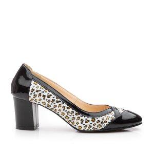 Pantofi eleganti dama din piele naturala  - 541-8 - negru leopard lac