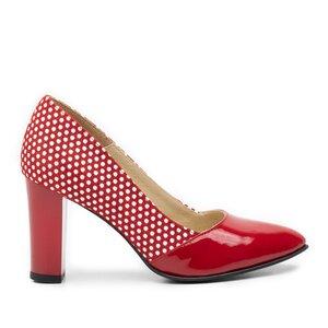 Pantofi eleganti dama din piele naturala  - 750 rosu-buline lac velur