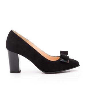 Pantofi eleganti dama din piele naturala  - 814 Negru Velur