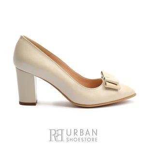 Pantofi eleganti dama din piele naturala - 814 TG Bej Box