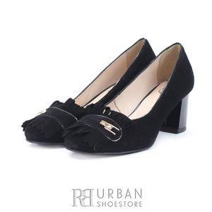 Pantofi eleganti dama din piele naturala  cu franjuri- 0498-6 Negru Velur