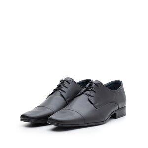 Pantofi eleganti barbati, Derby din piele naturala - 602 negru box