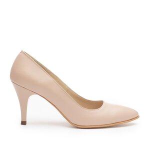 Pantofi eleganti din piele naturala,Leofex - 558 Nude Box