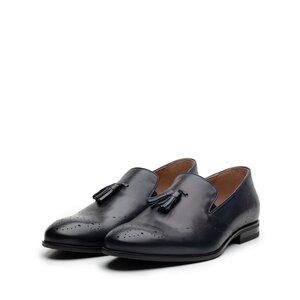 Pantofi eleganti barbati din piele naturala cu ciucuri, Leofex - 899 blue box