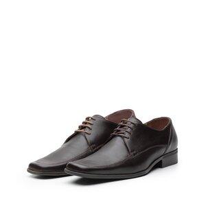 Pantofi eleganti din piele naturala cu varf patrat, Leofex - Mostra Carl 4 maro box