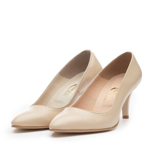 Pantofi eleganti din piele naturala,Leofex - 558 Bej Box