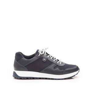 Pantofi sport barbati din piele naturala, Leofex - 670 Blue Box Velur Mash