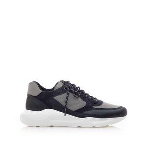 Pantofi sport barbati din piele naturala, Leofex - 672 Blue cu Gri Box Velur