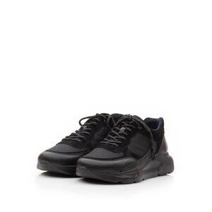 Pantofi sport barbati din piele naturala, Leofex - 672 Negru Box Velur Mash