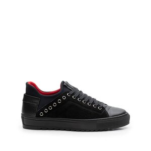 Pantofi sport barbati din piele naturala, Leofex- 959 Negru velur box