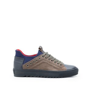 Pantofi sport barbati din piele naturala, Leofex- 959 taupe velur+ blue box