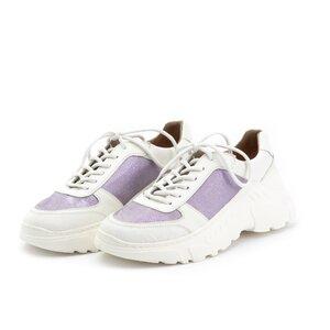 Pantofi sport dama din piele naturala, Leofex - 238-1 Alb mov box