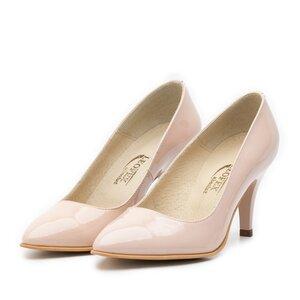 Pantofi stiletto dama din piele lacuita - 558 nude