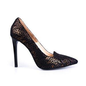 Pantofi stiletto dama din piele naturala - 1802 Negru + auriu velur