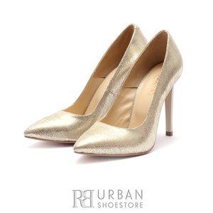 Pantofi stiletto dama din piele naturala - 1913 Auriu box