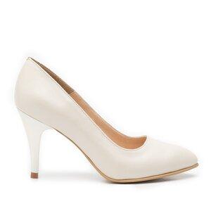 Pantofi stiletto dama  din piele naturala - 558 nude deschis sidefat
