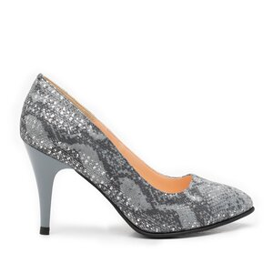 Pantofi stiletto dama din piele naturala, Leofex - 558 Gri velur print
