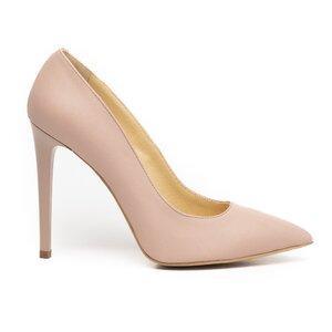 Pantofi stiletto dama din piele naturala, Leofex - 871 Nude box