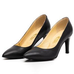 Pantofi stiletto dama din piele naturala,Leofex -872 Negru Box