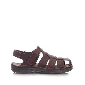 Sandale barbati din piele naturala,Leofex - 141 maro inchis box